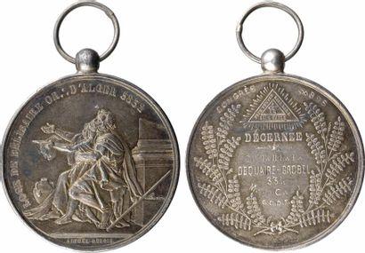 Algérie, médaille maçonnique, la loge de Bélisaire, par A. Dubois, 5832 (1832 - 1895) Paris