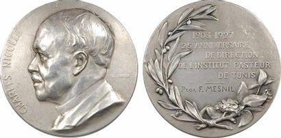 Tunisie, Charles Nicolle, directeur de l'Institut Pasteur de Tunis, par A. Maillard, en argent, 1903