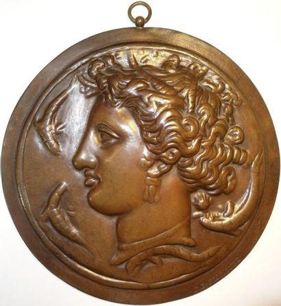 Barbedienne fondeur, Syracuse, fonte uniface décorative, s.d