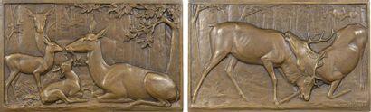 Gardet (G.) : Biches et faons et combat de cerfs, 1900 Paris, SAMF N° 186