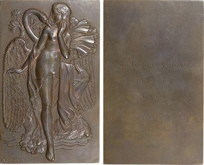 Pelletier (R.) : Léda et le cygne, plaque uniface, 1950 (c.1934) Paris