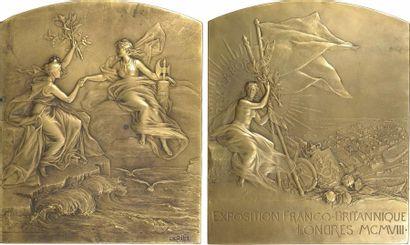 Pillet (Ch.) : Exposition franco-britannique de Londres, paire de fontes, 1908 Paris