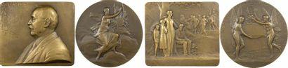 Pillet (C.) : l'Association Léopold Bellan, lot de 2 plaque et médaille, 1924 Paris