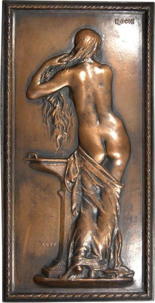 Roty (L.-O.) : Jeune femme grecque à sa toilette, plaque électrotype, s.d. (1879) Rome