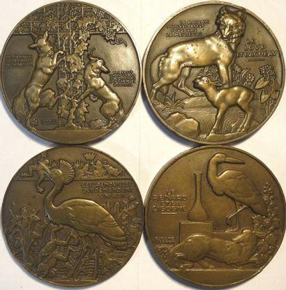 Vernon (J.) : les fables de La Fontaine, lot de 4 médailles, s.d. Paris