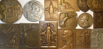 Lot III de 15 médailles par de célèbres graveurs