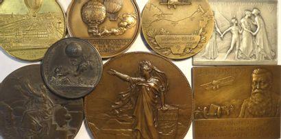 Aviation/train : lot de 8 médailles