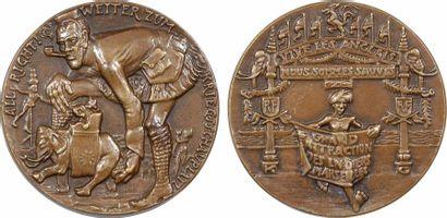 Allemagne/Ire Guerre mondiale, arrivée des troupes indiennes, par Karl Goetz, fonte, 1914 Berlin