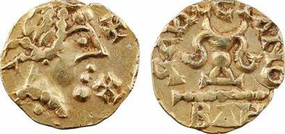 Aquitaine, Banassac (Javols, Lozère), Gauletano monétaire, trémissis, c.620-640