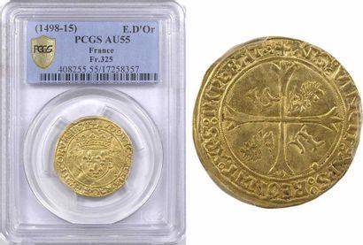 Louis XII, écu d'or au porc-épic, Lyon, PCGS AU55