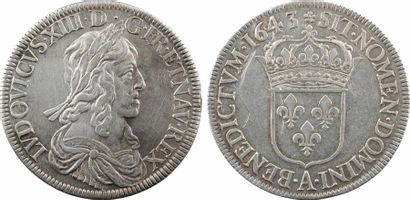 Louis XIII, écu d'argent, 3e type (2e poinçon), 1643 Paris (rose)