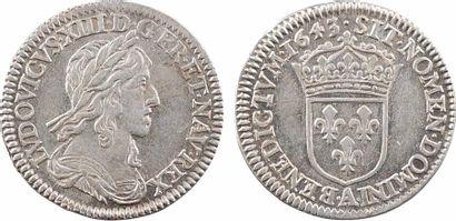 Louis XIII, douzième d'écu d'argent, 3e type (2e poinçon), 1643 Paris (point) Louis...