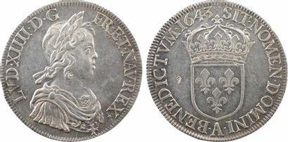 Louis XIV, écu à la mèche courte, 1643 Paris (point + étoile) Louis XIV, écu à la...