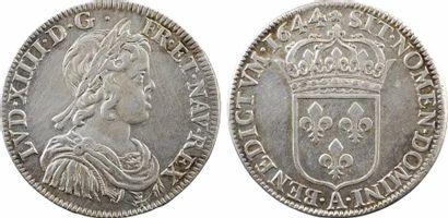 Louis XIV, demi-écu à la mèche courte, 1644 Paris (rose)
