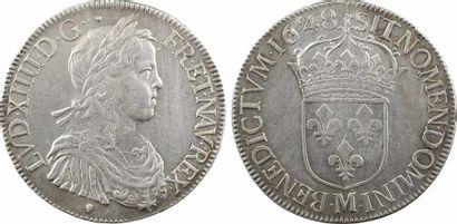 Louis XIV, écu à la mèche longue, 1648 Toulouse