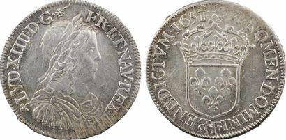 Louis XIV, demi-écu à la mèche longue, 1651 Angers