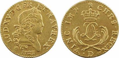 Louis XV, louis d'or dit Mirliton, palmes courtes, 1723 Lyon