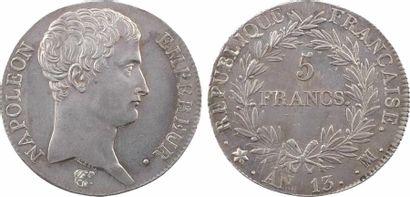 Premier Empire, 5 francs tête nue, calendrier révolutionnaire, An 13 Marseille