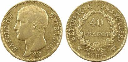 Premier Empire, 40 francs type transitoire, 1807 Lille