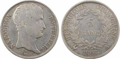 Premier Empire, 5 francs type transitoire, 1807 Paris
