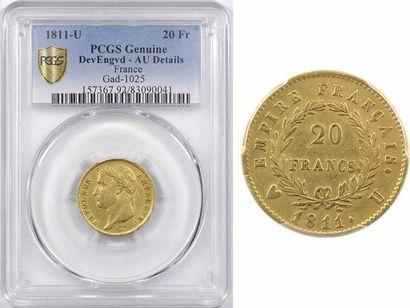 Premier Empire, 20 francs Empire, 1811 Turin, PCGS Genuine AU