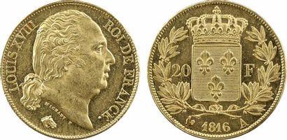 Louis XVIII, 20 francs buste nu, 1816 Paris
