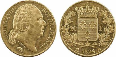 Louis XVIII, 20 francs buste nu, 1824 Paris
