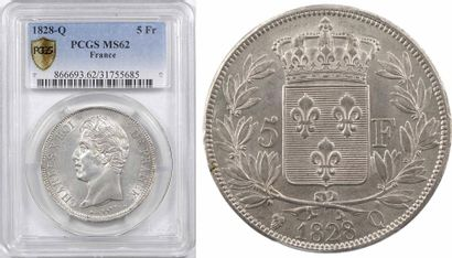 Charles X, 5 francs 2e type, 1828 Perpignan, PCGS MS62