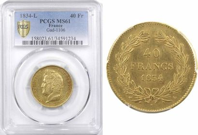 Louis-Philippe Ier, 40 francs, 1834 Bayonne, PCGS MS61