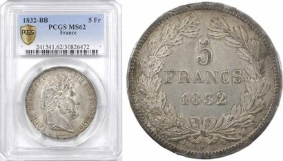 Louis-Philippe Ier, 5 francs IIe type Domard, 1832 Strasbourg, PCGS MS62