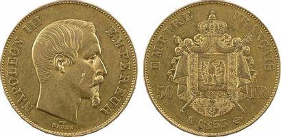 Second Empire, 50 francs tête nue, 1855 Paris