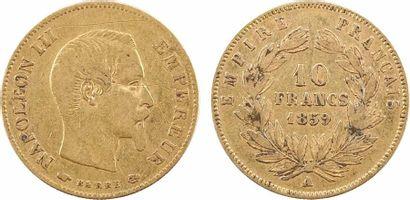 Second Empire, 10 francs tête nue, grand module, 1859 Paris