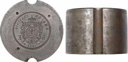 Second Empire, coin de faux-monnayeur du revers de la 5 francs tête laurée, 1863 Strasbourg