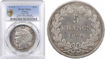 Gvt de Défense nationale, 5 francs Cérès sans légende, 1870 Paris, PCGS MS64