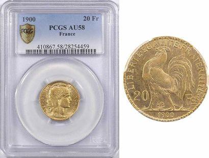 IIIe République, 20 francs Marianne, 1900 Paris, PCGS AU58