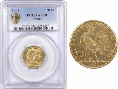 IIIe République, 20 francs Marianne, 1901 Paris, PCGS AU58