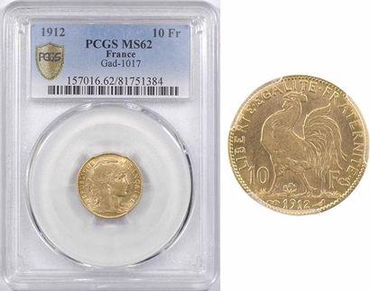 IIIe République, 10 francs Marianne, 1912 Paris, PCGS MS62
