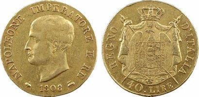 Italie, Napoléon Ier, 40 lire tranche en relief, 1808 Milan