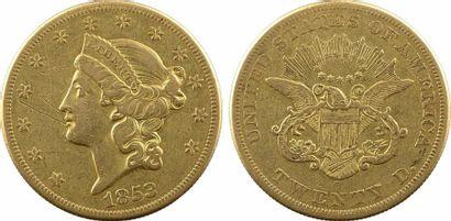 États-Unis, 20 dollars Liberté, 1853 Nouvelle Orléans