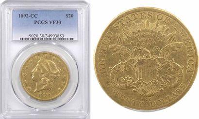 États-Unis, 20 dollars Liberté, 1892 Carson City, PCGS VF30
