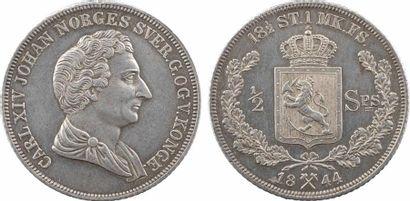 Norvège et Suède, Charles XIV Bernadotte, 1/2 specie daler, 1844 Kongsberg