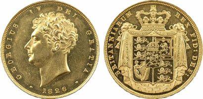 Royaume-Uni, Georges IV, épreuve sur flan bruni du 2 souverains, 1826 Londres