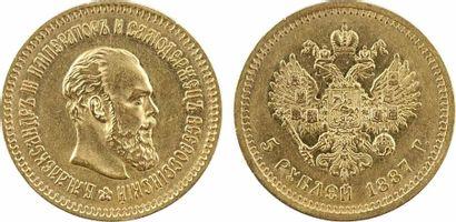 Russie, Alexandre III, 5 roubles, 1887 Saint-Pétersbourg