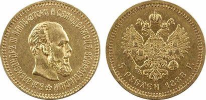 Russie, Alexandre III, 5 roubles, 1888 Saint-Pétersbourg Russie, Alexandre III, 5...