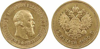 Russie, Alexandre III, 5 roubles, 1890 Saint-Pétersbourg