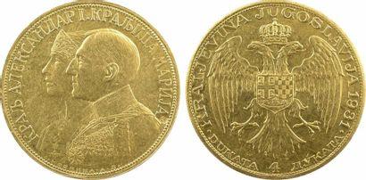 Yougoslavie (royaume de), Alexandre Ier, 4 ducats (contremarque épée), 1931 Kovnica