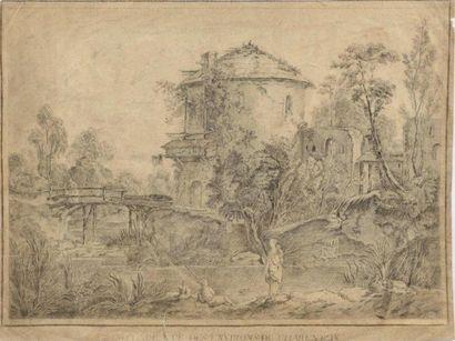 Ecole française XVIIIe siècle Seconde Vue des environs de Charenton, signé Chesle...