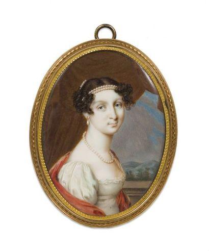 Attribué à Jean-Henri Benner. Portrait-miniature de la grande duchesse Anna Pavlovna....