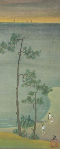 Mai Trung Thu (1906 - 1980) Méditation Encre et gouache sur soie. Signé et datée...