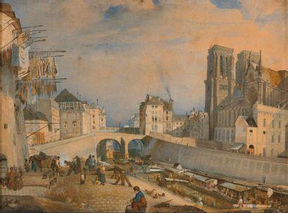 ECOLE FRANCAISE DU XIXème siècle Vue de Notre Dame de Paris Aquarelle 22,5 x 30,5...
